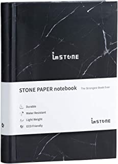 "imSTONE Stone Paper Notebook. Eco-Friendly, Waterproof Notepad. 288 Pages 4.1"" x 5.8"" Size A6. Reusable Paper Made from Stone. Lined, Dotted, and Blank Pages. Super-Smooth Paper. RockBook (Black"