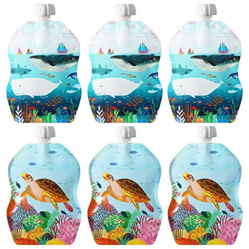ChooMee Bolsas reutilizables para alimentos para bebés, 8 onzas | Cremallera doble, parte inferior ancha, sin BPA | 6 CT | SnakPack Sealife