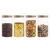 VIVILINEN Frascos de almacenamiento de alimentos Recipientes de vidrio para alimentos con tapas herméticas de bambú para café, dulces, galletas, arroz, 1300 ml / 44 oz (Juego de 4)