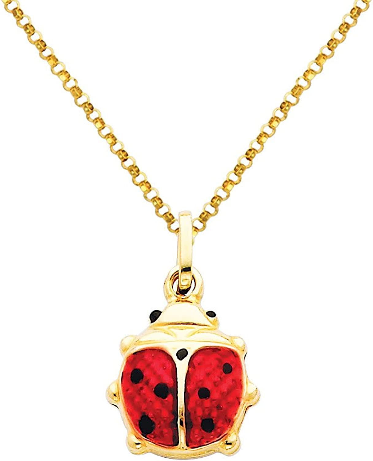 14k Yellow gold Lady Bug Enamel Charm Pendant with 1.2mm Classic Rolo Cable Chain Necklace