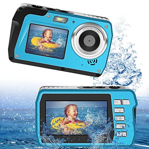LongOu Camara Acuatica Full HD 2.7K 48 MP Camara Fotos Acuatica Sumergible Selfie Pantallas Dobles 16X Zoom Camara de Fotos Acuatica para bucear
