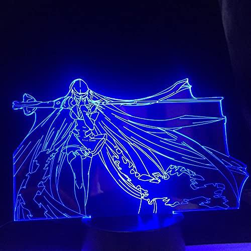 Lâmpada de anime Anime Luminária de acrílico LED Akame Ga Kill Esdeath para decoração de quarto, mangá presente de aniversário de criança - 16 cores com abajur de mesa de LED remoto
