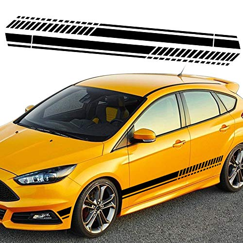 TOMALL 1 Pair 82.6'' Sports Racing Stripe Stickers for Car Body Door Side Stripe Graphic Vinyl Decals Decoration for All Cars SUV Truck Off-Road Vehicles Universal Stickers Accessories (Black)