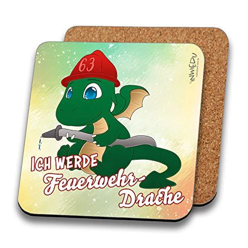 INWIEDU - Untersetzer Drache Ignis mit Spruch: Ich werde Feuerwehr-Drache - MDF mit Kork Rückseite - Größe 95 x 95 x 3 mm