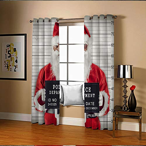 Amody Thermal Insulation Sunscreen Blackout Christmas Curtains Santa Claus prison Home Curtains Red White Blackout Drapes for Living Room 264x244CM