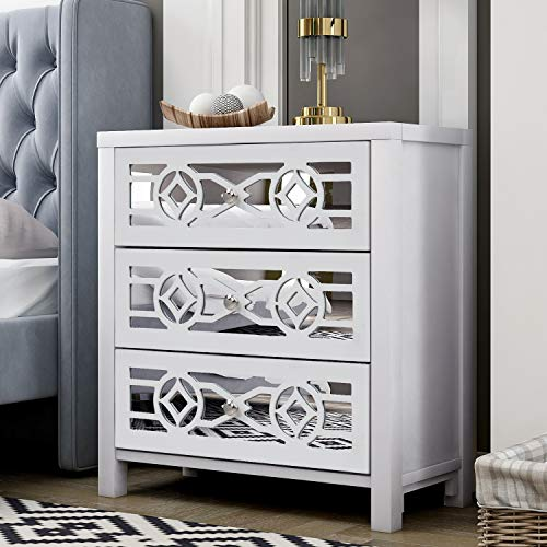 MTFY Mirrored Nightstand End Tables Bedside Table,Mirrored Accent Table with 3 Drawers and Decorative Mirror,Smooth Mirror Finish for Bedroom, Living Room,Antique White