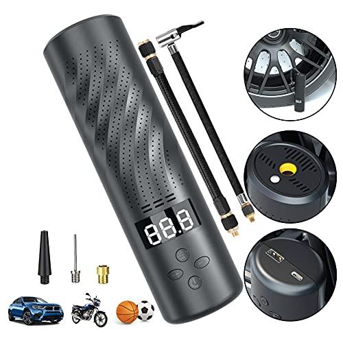 LENDOO Elektrische Digitale Reifenpumpe mit 2500mAh Akku, 150PSI Fahrradluftpumpe Kompressor mit Taschenlampe für Fahrrad, Motorrad, Football, Basketball