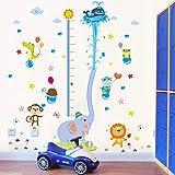 decalmile Pegatinas de Pared Elefante Gráfica de Altura Vinilos Decorativos Infantiles Animales Medir Altura Adhesivos Pared Habitaciones Infantiles Dormitorio