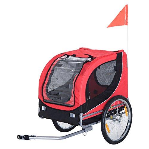 Pawhut Hundeanhänger Fahrradanhänger Hundetransporter Hunde Fahrrad Anhänger Rot 130 x 73 x 90 cm