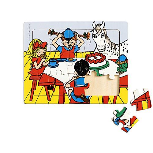 Micki & Friends 44378300 Pippi Langstrumpf Rahmenpuzzle Kinder-Puzzle - Holzpuzzle 15 Teile - Holzspielzeug - klassiches Kinderpuzzle Holz - ab 3 Jahren