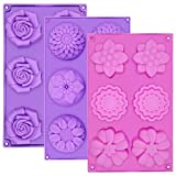 Silicone Soap Molds, AIDOIT 3 PCS 6 Cavity Assorted Silicone Flower Soap Mold DIY Soap Molds for Handmade Chocolate Biscuit Cake Muffin
