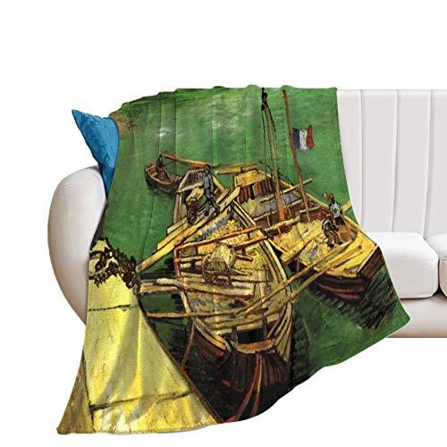 Promini Quay With Men Desloading Sand Barges by Van Gogh Manta de franela cómoda de terciopelo ultra felpa, manta suave para sofá, colcha de cama de 127 x 152 cm