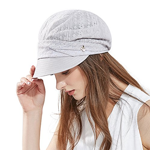 Comhats Damen Schirmmütze Sommerhut Faltbare Barett Mütze mit Visor Grau