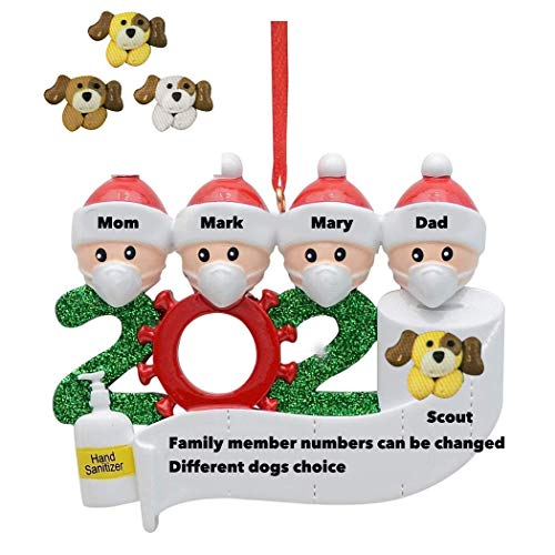Papivore 2020 Christmas Ornament Quarantine with pet, Personalized Name Christmas Ornament kit, Dog Ornaments for Christmas Tree (with Dog)