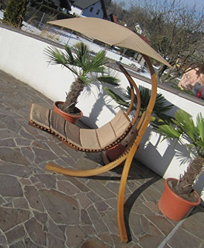 DESIGN Hängeliege NAVASSA mit Gestell aus Holz Lärche komplett mit Hängeliege und Dach von AS-S, Farbe:Braun - 4