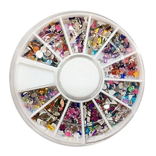 YOSIYO 3D Nail Art Tips Black Gems Crystal Glitter Rhinestone DIY Nail Decoration Kit With Box