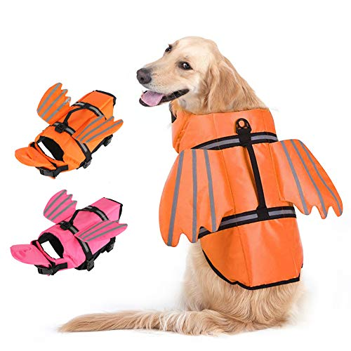 EMUST Dog Life Vest, Dog Life Jacket for Small, Medium, Large Dogs with Rescue Handle Flotation Vest Safety Lifesaver for Swimming Pool Beach Boating Water, Orange, XS