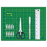 WORKLION Craft Knife and Mat Set: Precision Carving Utility Knive &10 Pcs Replacement Blades & Self-Healing Cutting Mat 12 x 9 & Multipurpose Scissors & Aluminium Ruler for Art Craft Projects