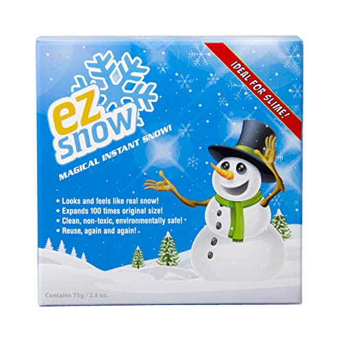 EZ Snow Magical Instant Snow, Looks and feels like real snow, Expands 100 times original size, Clean, non-toxic, environmentally safe, Reuse, again and again. Makes up to 4 gallons! Works with Slime!