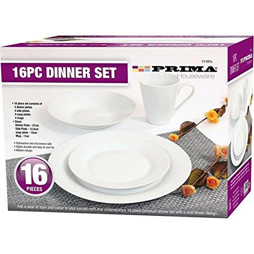 Servizio da tavola in porcellana, 16 pezzi, con piatti piani, piatti fondi, piattini, tazze, idea regalo, servizio da tavola PLAIN