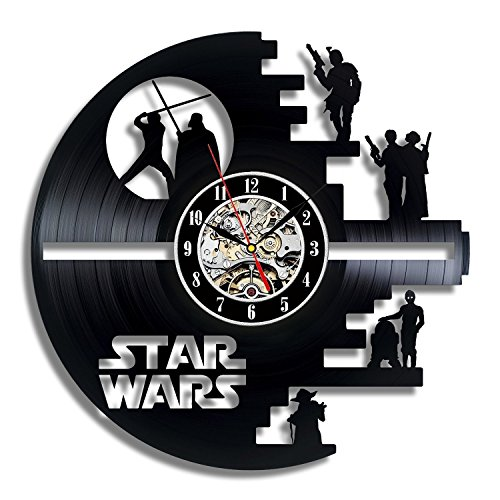 Vinyl Evolution Star Wars Death Star Designed Wall Clock - Decorate Your Home with Modern Large Darth Vader and Luke Skywalker Art - Best Gift for Friend, Man and boy - Win a Prize for Feedback