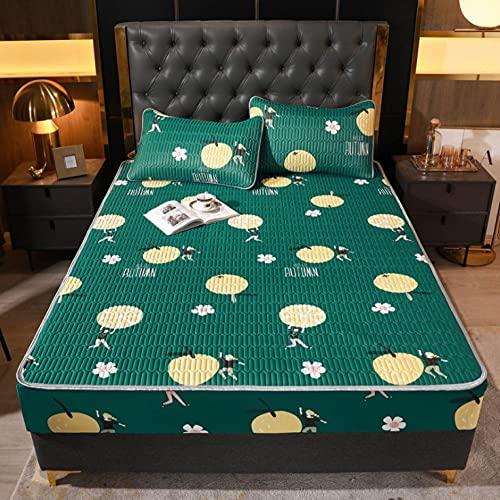 Lenzuolo estivo Materassino in seta di ghiaccio Morbido e confortevole materasso in lattice Materassino traspirante per un sonno confortevole King Queen Double Single Size-I_150x200cm+30cm(3pcs)