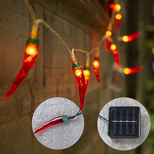 Solarboom decoratieve verlichting, balkon buiten led kleine lichtslingers, zwaailichten waterdichte tuinindeling buiten - rode peper 7m50 lichten