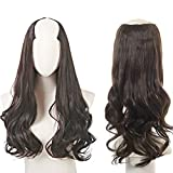Dark Brown Clip in on U Part Hair Extensions Full Head Long Curly Wave Synthetic Hair Pieces for Women 24 Inch SARLA UH17&6#