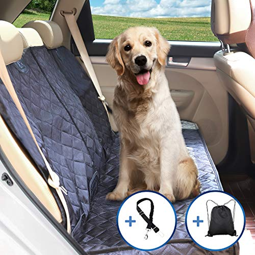 Petural Back Seat Cover – Waterproof Dog Car Seat Covers – Back Seat Protector for Pets with Armrest and Seat Belt – Tear Resistant and Easy to Install – Ideal for Dog and Kids, Travelling