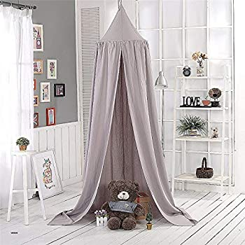 Lion Paw Kids Bed Canopy Muslin Baby Crib Canopy Mush Lace Dome Tent Room Decoration for Girls Princess Hanging Mosquito Net to Cover The Crib Infant Sleep Protection-Gray