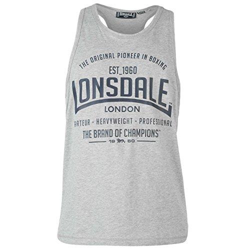Lonsdale Débardeur pour homme, sans manches, col en U, t-shirt de sport pour exhiber ses muscles - Gris - XXX-Large