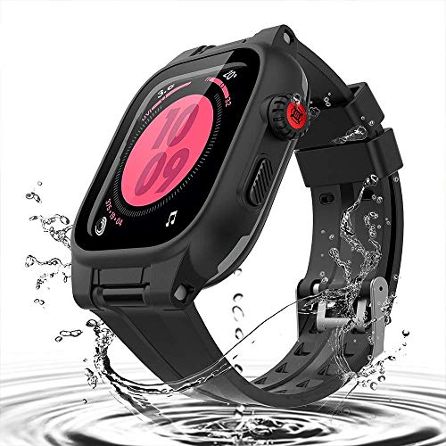 Custodia Impermeabile per Apple Watch Series 5/4 44mm,IP68 Impermeabile Antiurto Antipolvere Custodia con Cinghia ,Waterproof Custodia con Protezione Schermo per Apple Watch Series 5/4 44mm (Nero)