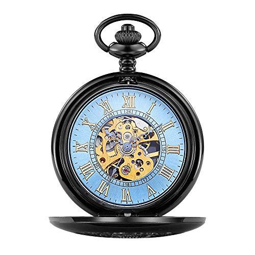 QZH Reloj de Bolsillo Reloj de Bolsillo mecánico Grande con Forma de Concha Reloj mecánico clásico Hueco Tallado Romano Relojes de Bolsillo y Fob (Azul)