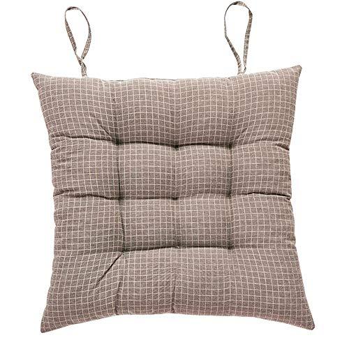 Juego de 2 almohadillas antideslizantes para sillas de cocina, sillas de jardín, sillas de jardín, sillas de exterior, color sólido, cojines para sillas de comedor (marrón, 40 x 40 cm)