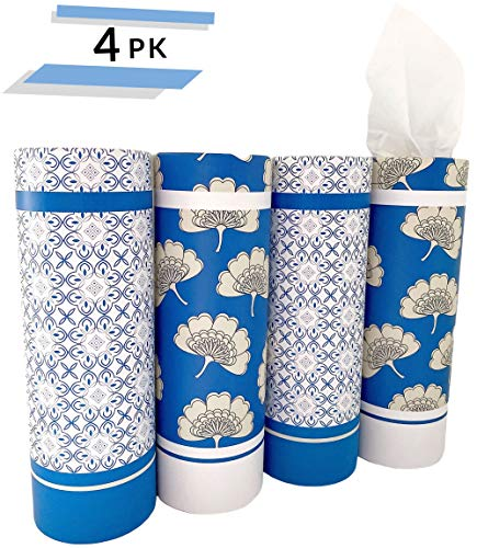 Car Tissue Holder with 3-Ply Facial Tissue Bulk - 4 PK TissueTube | Travel Tissues Travel Size | Perfect Fit for Car Cup Holder, Car Tissue Box, Round Container Car Tissues