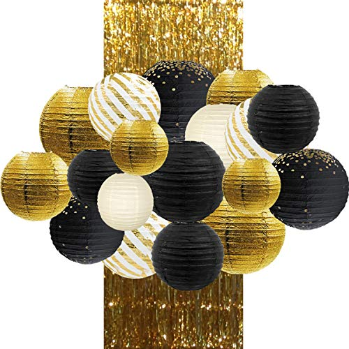 NICROLANDEE Black Gold Party Decor, Metallic Foil Paper Lantern with Gold Foil Metallic Fringe Curtains for 2020 Graduation Prom Night Wedding Bridal Shower Birthday Anniversary Party Supplies