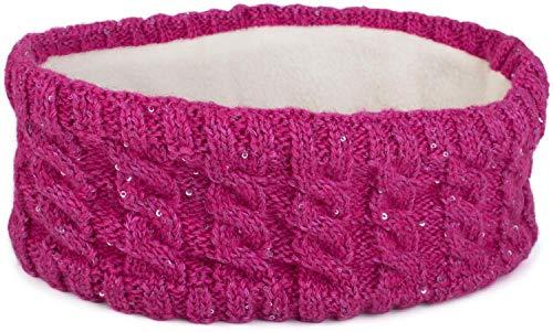 styleBREAKER Damen Strick Stirnband mit Zopfmuster und Pailletten, Fleece Futter, Haarband, Headband 04026028, Farbe:Pink