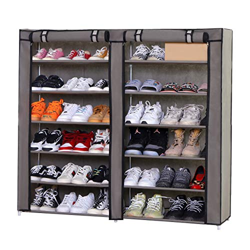 PENGKE Large 36 Pairs Shoe Rack Shoe Storage Organizer Cabinet Tower with Nonwoven Fabric Cover,7 Tiers,Gray