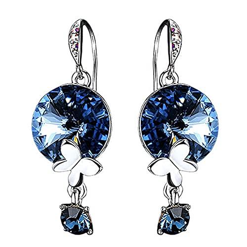 AZPINGPAN Pendientes de mariposa con forma de gota de agua Pendientes de gancho para la oreja, Pendientes de tendencia europea y americana Personalidad Cristal azul Accesorios a juego de moda, Exquisi