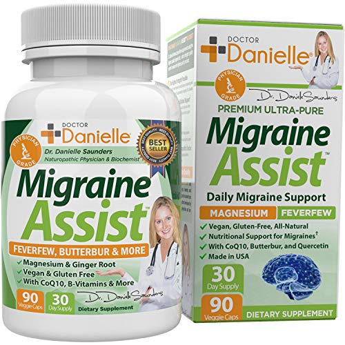 Best Migraine Relief Product with Magnesium - Migraine Assist Supplement with Quercetin, Feverfew, Butterbur, CoQ10 from Dr. Danielle, 90 Capsules