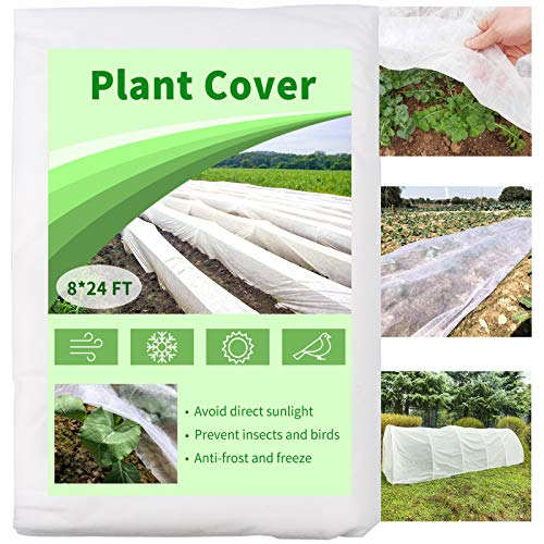 Mhonniwa Plant Covers Freeze Protection Floating Row Cover 8X24 FT 1.0 oz/yd² Non-Woven Frost...