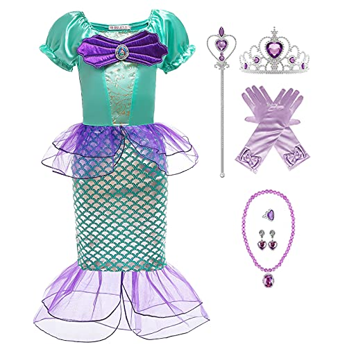 AISHANGYIDE Niñas Princesa Sirena Vestidos Sirenita Disfraz Vestido de Cuento de Hadas Cumpleaños Cosplay Halloween Navidad Carnaval Bautizo