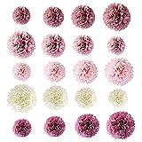LQKYWNA 20Pcs Papierblumen-Ball, Pom-Poms Honeycomb Bälle für Geburtstags-Party Hochzeit Decke und Hauptdekorationen
