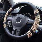 Pahajim Car Steering Wheel Cover Couvre Volant Cuir Housse de Volant de Voiture en Soie glacée Respirante antidérapante Durable Summer Universelle(Beige)