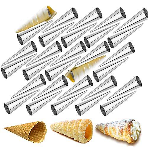 KBstore 30 Pièces Moules Crème à Pâtisserie en Acier Inoxydable Cônes Droit - Grande Taille Cornets à la Crème Conique Spirale pour Cuisine Cannoli, Croissant, Feuilletés, Gâteau, Crème Glacé #3
