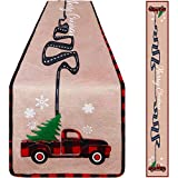 Aneco Christmas Table Runner Christmas Vintage Truck Table Runner Linen Fabric Christmas Table Runner for Christmas Indoor Outdoor Events 14 x 108 Inches