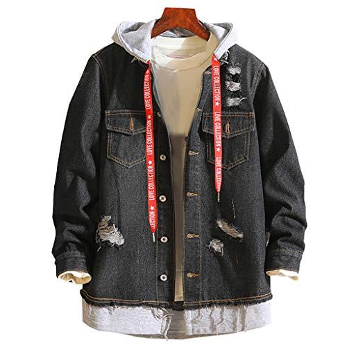 manadlian Homme Veste en Jean Denim Jacket Manche Longue Hommes Manteau Vintage Slim Fit Veste Denim Automne Blouson Hiver Sweat-Shirts Casual Sweats à Capuche Hommes