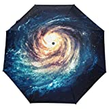 Trushop Parapluie Automatique Universe Galaxy Umbrella Spiral Auto Umbrella Open Close Compact Anti-UV Travel Windproof Parasol Umbrellas Sun & Rain