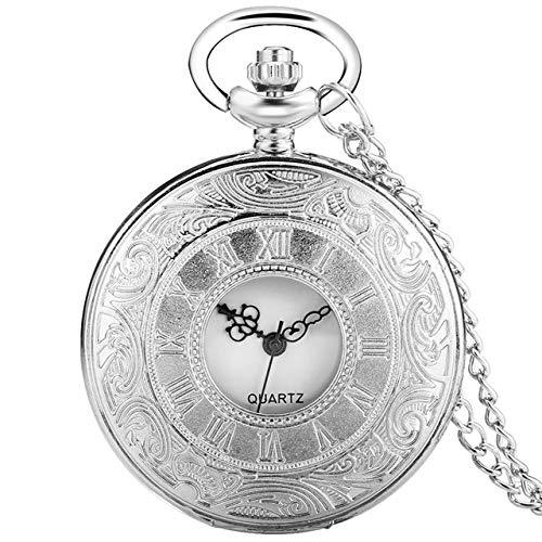 ZHAOXIANGXIANG Reloj De Bolsillo,Simple Plata Números Romanos Reloj De Bolsillo Hombres Mujeres Caja Hueca Cuarzo Steampunk Vintage Colgante Collar Regalo, Reloj De Cadena