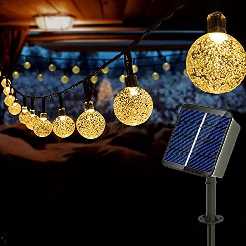Auting LED lichterkette balkon außen,Solar Kristall Kugeln Warmweiß 60 LED 36ft 11M 8 Modi Solar Lichterkette Außer/Innen Lichter Beleuchtung für Garten,Bäume,Terrasse,Weihnachten,Partys